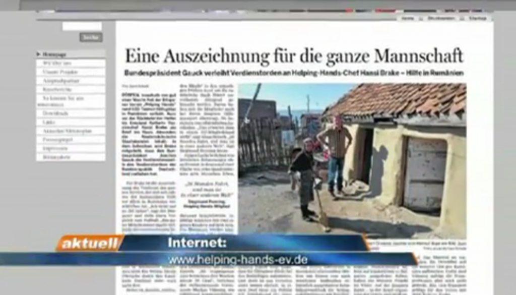 """Verdienstkreuz für Hansi Brake von """"helping hands"""""""